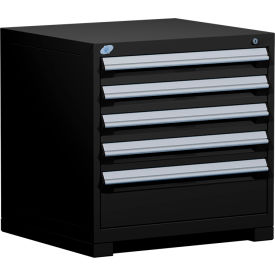 "Rousseau Metal Heavy Duty Modular Drawer Cabinet 5 Drawer Bench High 30""W - Black"