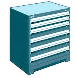 "Rousseau Metal Heavy Duty Modular Drawer Cabinet 6 Drawer Bench High 30""W - Everest Blue"