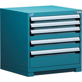 "Rousseau Metal Heavy Duty Modular Drawer Cabinet 5 Drawer Bench High 30""W - Everest Blue"