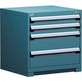 "Rousseau Metal Heavy Duty Modular Drawer Cabinet 4 Drawer Bench High 30""W - Everest Blue"