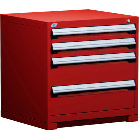 """Rousseau Metal Heavy Duty Modular Drawer Cabinet 4 Drawer Bench High 30""""W - Red"""
