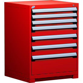 """Rousseau Metal Heavy Duty Modular Drawer Cabinet 7 Drawer Counter High 30""""W - Red"""