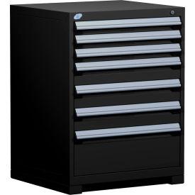"Rousseau Metal Heavy Duty Modular Drawer Cabinet 7 Drawer Counter High 30""W - Black"