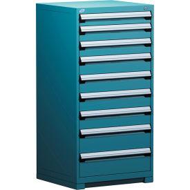 "Rousseau Metal Heavy Duty Modular Drawer Cabinet 9 Drawer Full Height 30""W - Everest Blue"