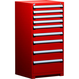 """Rousseau Metal Heavy Duty Modular Drawer Cabinet 9 Drawer Full Height 30""""W - Red"""