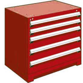 """Rousseau Metal Heavy Duty Modular Drawer Cabinet 5 Drawer Bench High 36""""W - Red"""
