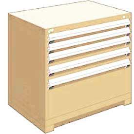 "Rousseau Metal Heavy Duty Modular Drawer Cabinet 5 Drawer Bench High 36""W - Beige"