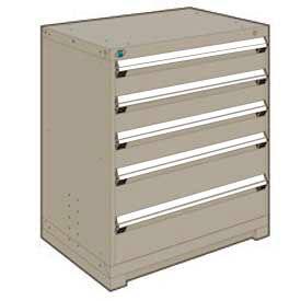 "Rousseau Metal Heavy Duty Modular Drawer Cabinet 5 Drawer Counter High 36""W - Light Gray"