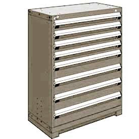 "Rousseau Metal Heavy Duty Modular Drawer Cabinet 8 Drawer Counter High 36""W - Light Gray"