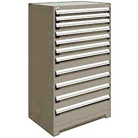 "Rousseau Metal Heavy Duty Modular Drawer Cabinet 11 Drawer Full Height 36""W - Light Gray"