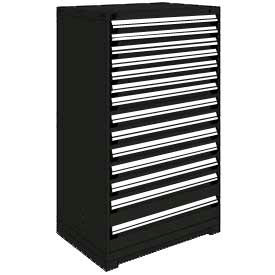 "Rousseau Metal Heavy Duty Modular Drawer Cabinet 14 Drawer Full Height 36""W - Black"