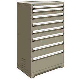 "Rousseau Metal Heavy Duty Modular Drawer Cabinet 8 Drawer Full Height 36""W - Light Gray"