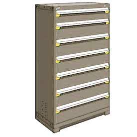 "Rousseau Metal Heavy Duty Modular Drawer Cabinet 7 Drawer Full Height 36""W - Light Gray"