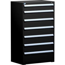 "Rousseau Metal Heavy Duty Modular Drawer Cabinet 7 Drawer Full Height 36""W - Black"