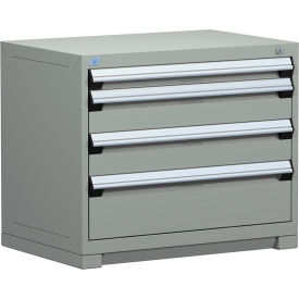 "Rousseau Metal Heavy Duty Modular Drawer Cabinet 4 Drawer Bench High 36""W - Light Gray"