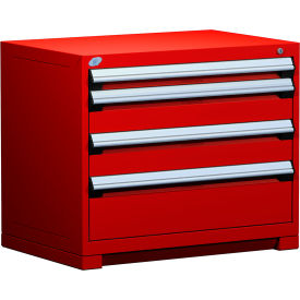 """Rousseau Metal Heavy Duty Modular Drawer Cabinet 4 Drawer Bench High 36""""W - Red"""