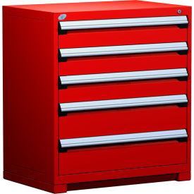 """Rousseau Metal Heavy Duty Modular Drawer Cabinet 5 Drawer Counter High 36""""W - Red"""