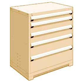 "Rousseau Metal Heavy Duty Modular Drawer Cabinet 5 Drawer Counter High 36""W - Beige"