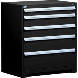 "Rousseau Metal Heavy Duty Modular Drawer Cabinet 5 Drawer Counter High 36""W - Black"