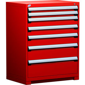 """Rousseau Metal Heavy Duty Modular Drawer Cabinet 7 Drawer Counter High 36""""W - Red"""