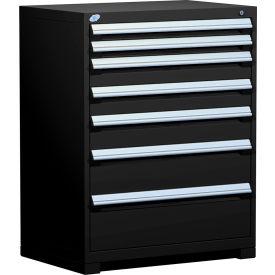 "Rousseau Metal Heavy Duty Modular Drawer Cabinet 7 Drawer Counter High 36""W - Black"