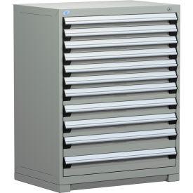 "Rousseau Metal Heavy Duty Modular Drawer Cabinet 11 Drawer Counter High 36""W - Light Gray"