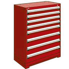 Rousseau Metal Heavy Duty Modular Drawer Cabinet 8 Counter High 36 W Red