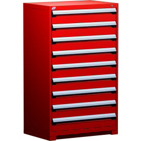 """Rousseau Metal Heavy Duty Modular Drawer Cabinet 9 Drawer Full Height 36""""W - Red"""