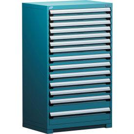 "Rousseau Metal Heavy Duty Modular Drawer Cabinet 14 Drawer Full Height 36""W - Everest Blue"
