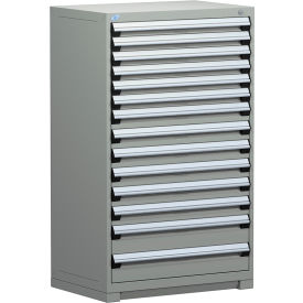 "Rousseau Metal Heavy Duty Modular Drawer Cabinet 14 Drawer Full Height 36""W - Light Gray"
