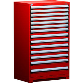 """Rousseau Metal Heavy Duty Modular Drawer Cabinet 14 Drawer Full Height 36""""W - Red"""