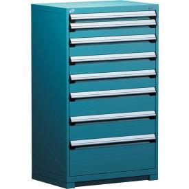"Rousseau Metal Heavy Duty Modular Drawer Cabinet 8 Drawer Full Height 36""W - Everest Blue"