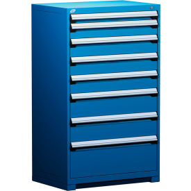 "Rousseau Metal Heavy Duty Modular Drawer Cabinet 8 Drawer Full Height 36""W - Avalanche Blue"