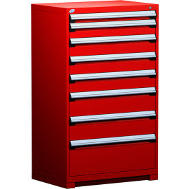 "Rousseau Metal Heavy Duty Modular Drawer Cabinet 8 Drawer Full Height 36""W - Red"
