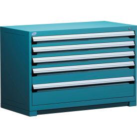 "Rousseau Metal Heavy Duty Modular Drawer Cabinet 5 Drawer Bench High 48""W - Everest Blue"