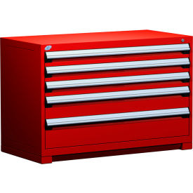 """Rousseau Metal Heavy Duty Modular Drawer Cabinet 5 Drawer Bench High 48""""W - Red"""