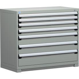 "Rousseau Metal Heavy Duty Modular Drawer Cabinet 7 Drawer Counter High 48""W - Light Gray"