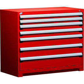 """Rousseau Metal Heavy Duty Modular Drawer Cabinet 7 Drawer Counter High 48""""W - Red"""