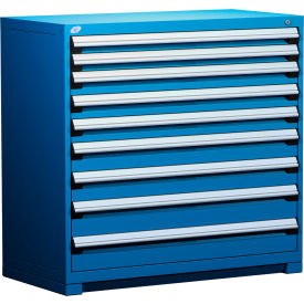 """Rousseau Metal Heavy Duty Modular Drawer Cabinet 9 Drawer Counter High 48""""W - Avalanche Blue"""