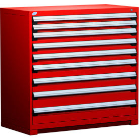 """Rousseau Metal Heavy Duty Modular Drawer Cabinet 9 Drawer Counter High 48""""W - Red"""