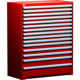 """Rousseau Metal Heavy Duty Modular Drawer Cabinet 15 Drawer Full Height 48""""W - Red"""