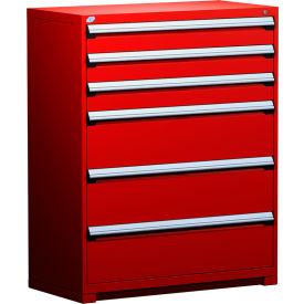 "Rousseau Metal Heavy Duty Modular Drawer Cabinet 6 Drawer Full Height 48""W - Red"