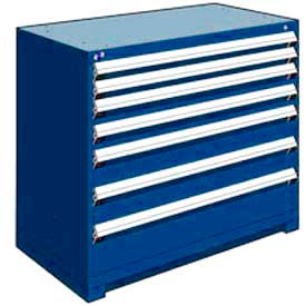 """Rousseau Metal Heavy Duty Modular Drawer Cabinet 7 Drawer Counter High 48""""W - Avalanche Blue"""