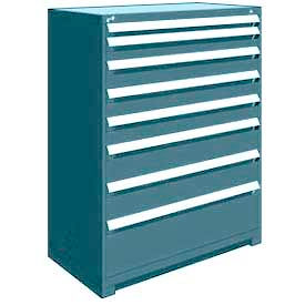 "Rousseau Metal Heavy Duty Modular Drawer Cabinet 8 Drawer Full Height 48""W - Everest Blue"