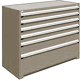 "Rousseau Metal Heavy Duty Modular Drawer Cabinet 6 Drawer Counter High 60""W - Light Gray"