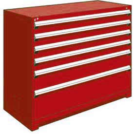 """Rousseau Metal Heavy Duty Modular Drawer Cabinet 6 Drawer Counter High 60""""W - Red"""