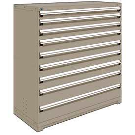 "Rousseau Metal Heavy Duty Modular Drawer Cabinet 9 Drawer Full Height 60""W - Light Gray"