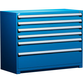 """Rousseau Metal Heavy Duty Modular Drawer Cabinet 6 Drawer Counter High 60""""W - Avalanche Blue"""