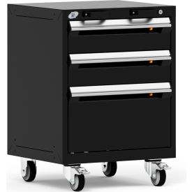 "Rousseau Metal 3 Drawer Heavy-Duty Mobile Modular Drawer Cabinet - 24""Wx21""Dx33-1/4""H Black"