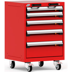 "Rousseau Metal 5 Drawer Heavy-Duty Mobile Modular Drawer Cabinet - 24""Wx21""Dx35-1/4""H Red"